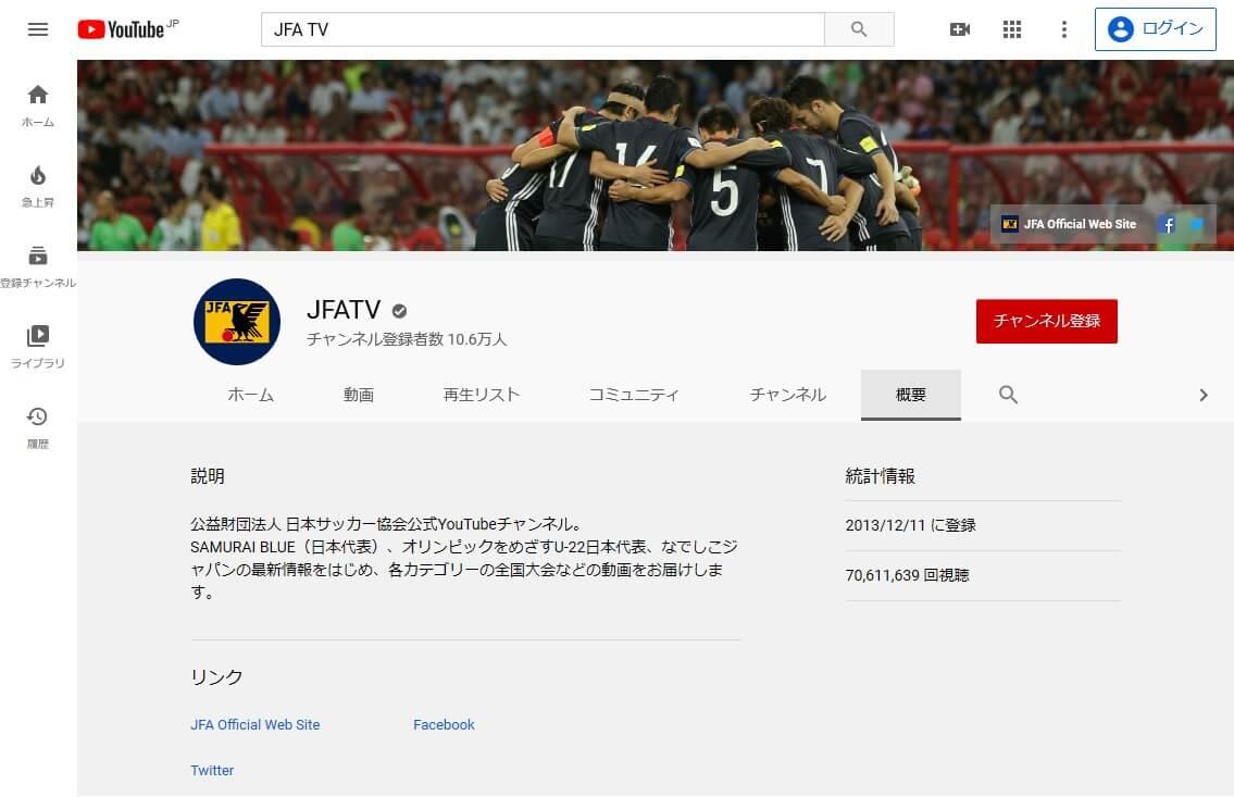 JFA TVのYouTubeページ